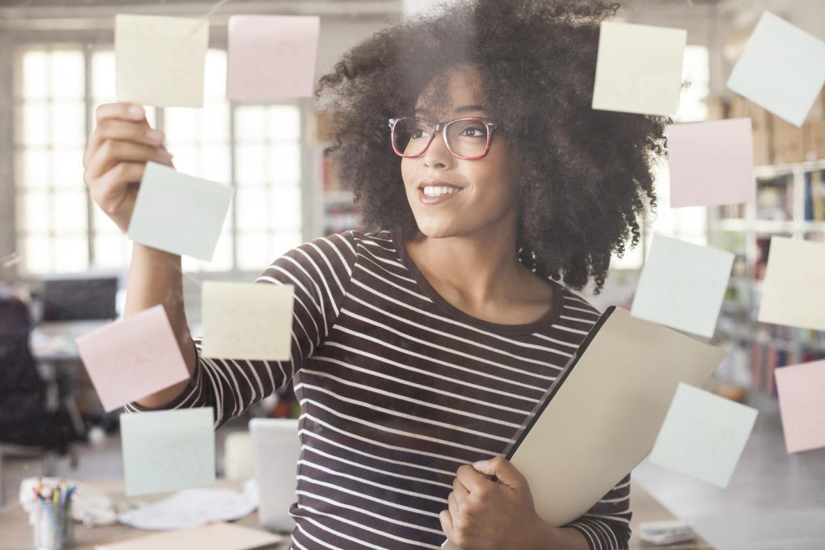 Woman applying 4 P's and marketing process